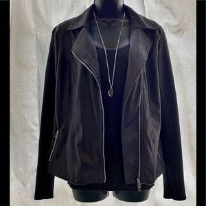 Monoreno Faux Suede Cropped/Motorcycle Jacket
